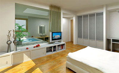 Không gian buồng tắm phòng ngủ bằng kính