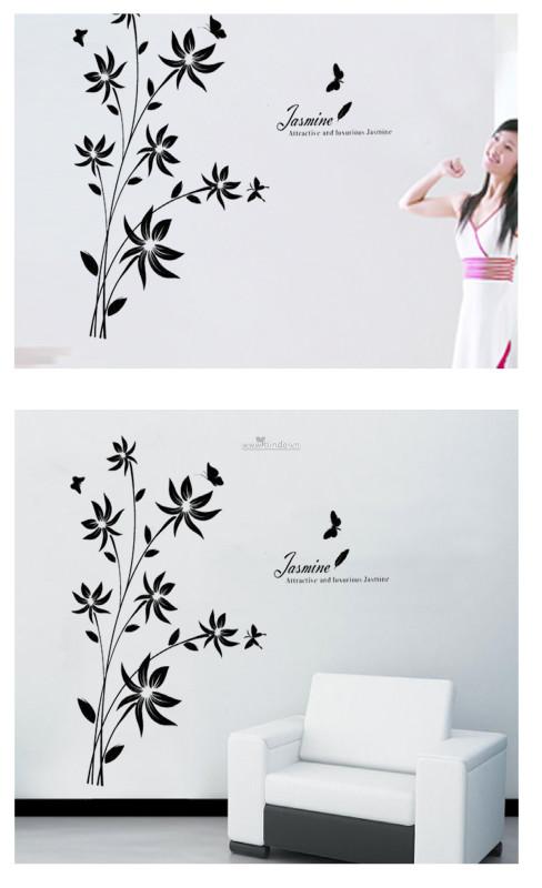 Decal dán tường Cây đen và bướm