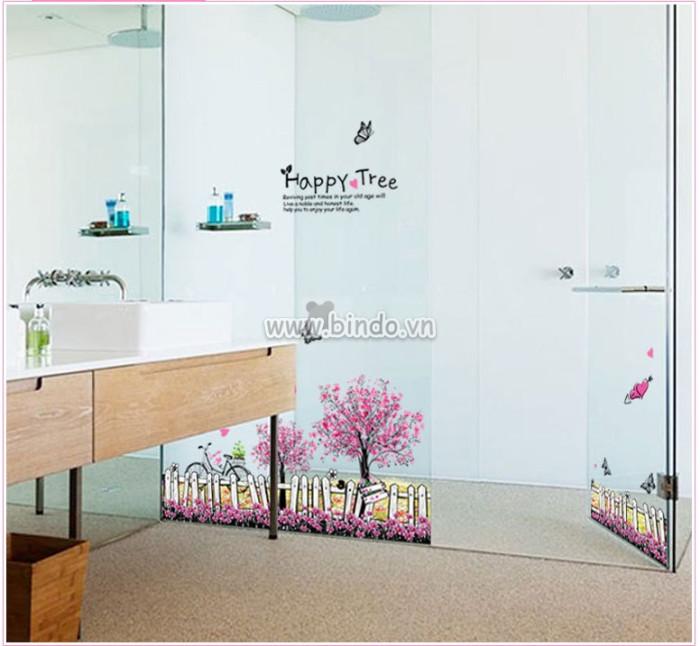 Decal dán tường Chân tường hoa cây tím
