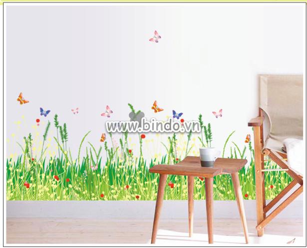 Decal dán tường Chân tường hoa cỏ 2