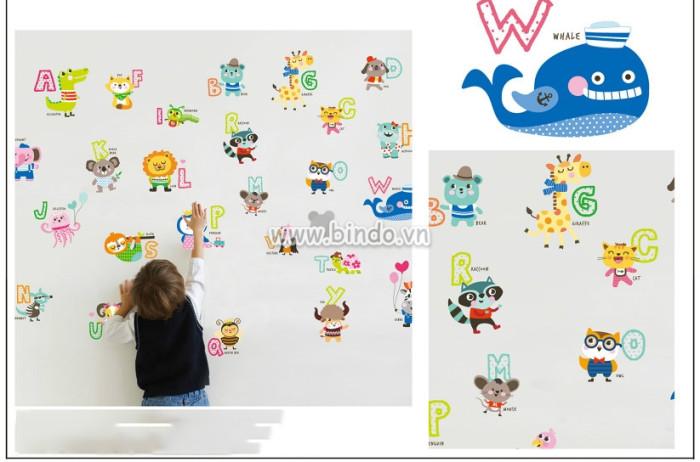 Decal dán tường Chữ cái động vật 2