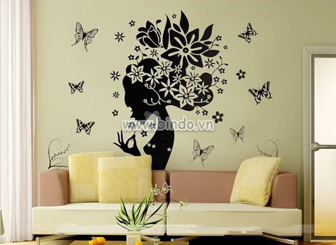 Decal dán tường Cô gái hoa hồng 2