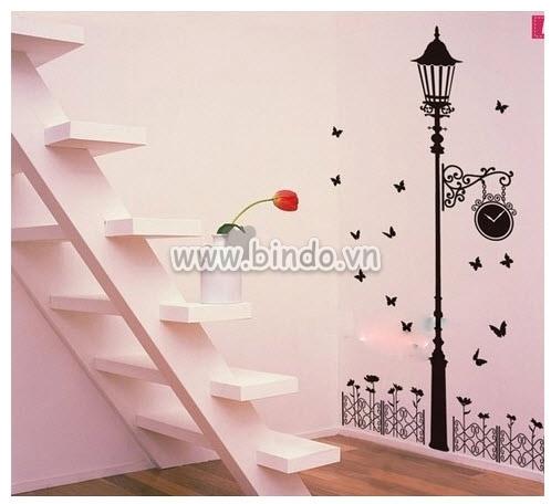 Decal dán tường Decal Cột đèn trang trí