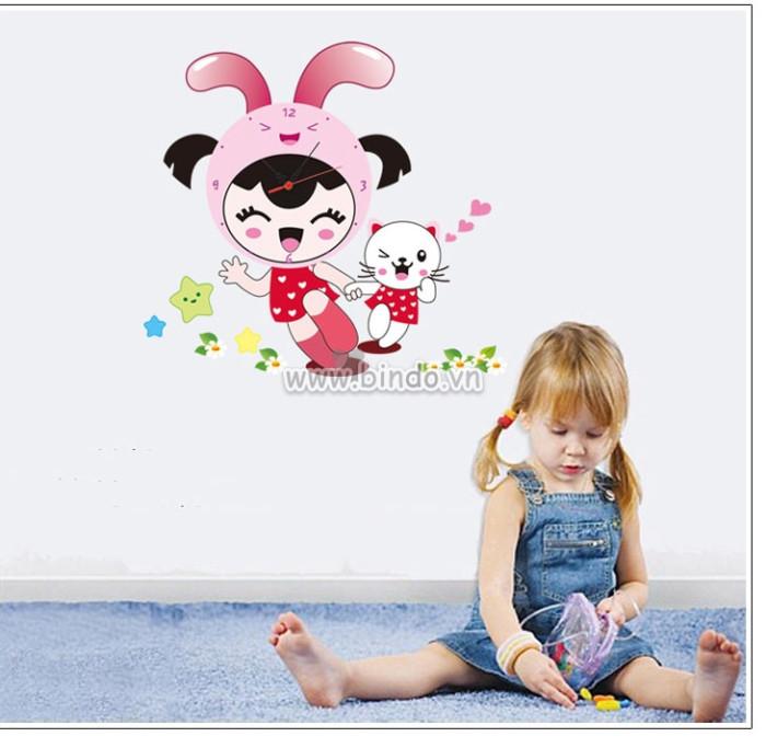Decal dán tường Đồng hồ bé thỏ hồng