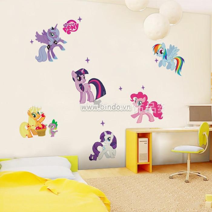 Decal dán tường Gia đình Ngựa Pony sắc màu 1