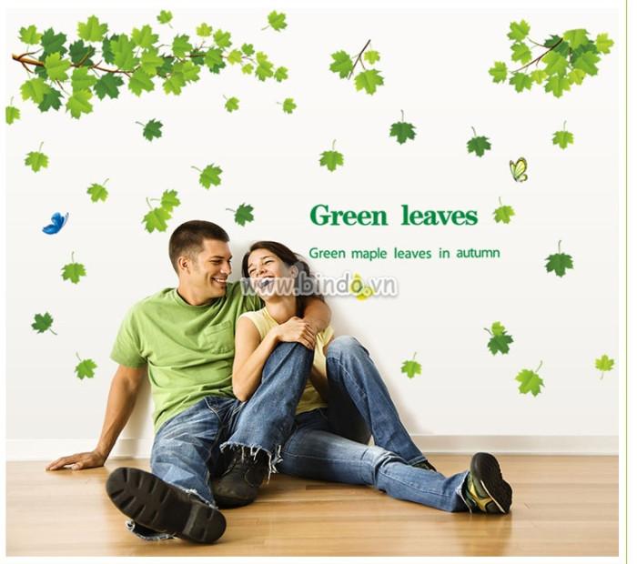 Decal dán tường Giàn cây lá xanh