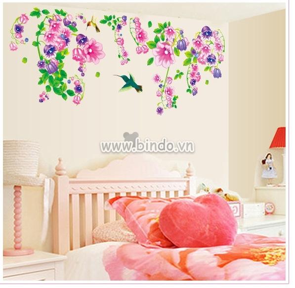 Decal dán tường Giàn hoa loa kèn tím