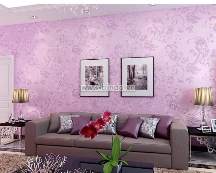 Giấy dán tường 3d họa tiết hoa tím