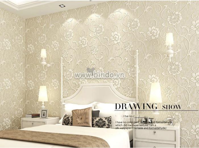 Giấy dán tường 3d họa tiết hoa vàng kem 1