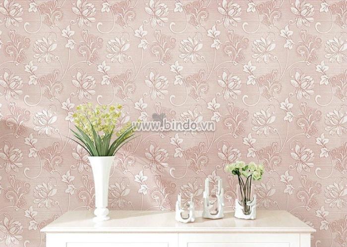 Giấy dán tường 3d hoa hồng nhạt