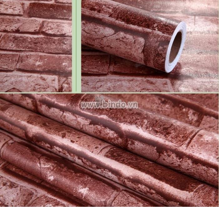 Giấy decal cuộn gạch nâu đỏ