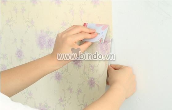 Giấy decal cuộn họa tiết hoa nơ tím