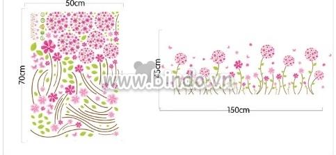 Decal dán tường Hoa li ti hồng