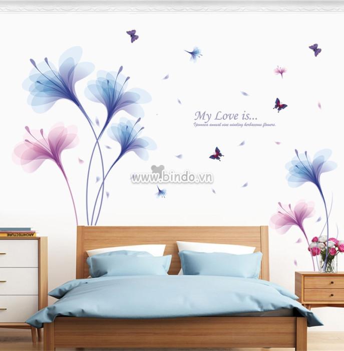 Decal dán tường Hoa cánh mỏng sắc màu