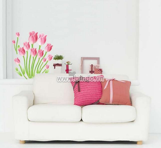 Decal dán tường Hoa tu líp hồng