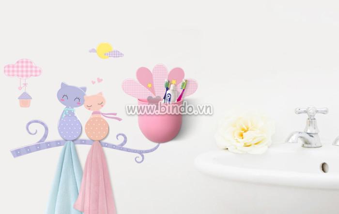 Decal dán tường Hộp đựng đồ đa năng kèm móc treo đồ hình đôi mèo