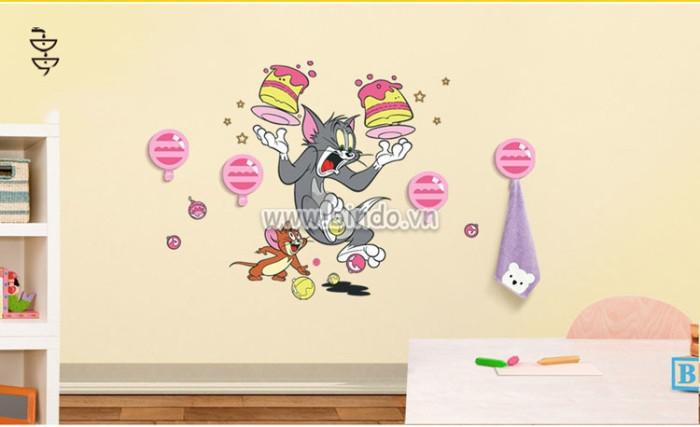 Decal dán tường Móc treo đồ Tom and Jerry