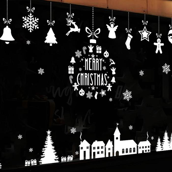 Decal dán tường Noel 93 -Dây treo và nhà tuyết