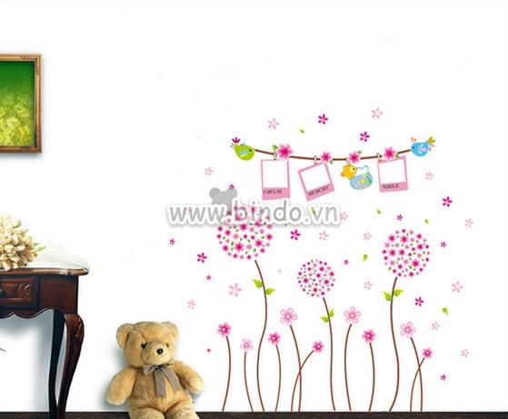 Decal dán tường Photo tú cầu hồng