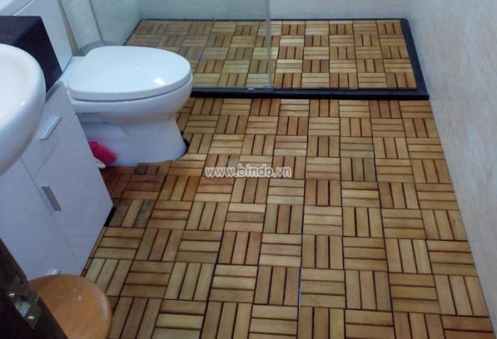 Decal dán tường Sàn gỗ phòng tắm IKEA