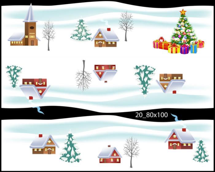 Decal dán tường Trang trí Noel chân tuyết 1 3m