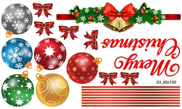 Decal dán tường Trang trí Noel quả châu 3