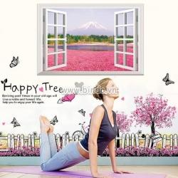 Decal dán tường  Combo Cửa sổ hoa hồng và Chân tường hoa cây tím
