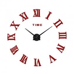 Decal dán tường  Đồng hồ chữ số la mã khổ lớn màu đỏ