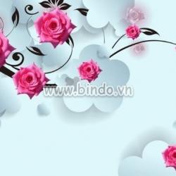 Decal dán tường Tranh hiện đại hoa hồng 3D