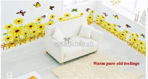 Decal dán tường Chân tường hoa hướng dương vàng