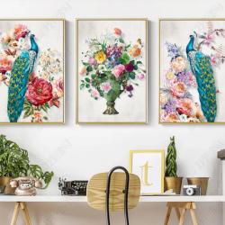 Tranh bộ 3 chim công xanh và lọ hoa số 2