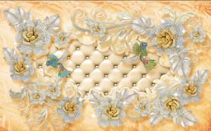 Tranh ngọc đôi chim và hoa hồng