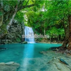 Tranh thác nước trong rừng nhiệt đới tại Vườn Quốc gia Erawan, Thái Lan