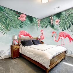 Tranh vẽ khu rừng nhiệt đới và chim hồng hạc 1
