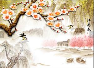 Tranh vẽ cành hoa đào