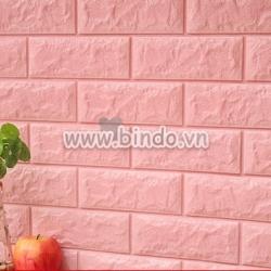Decal dán tường Xốp đá dán tường màu hồng phấn