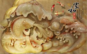tranh ngoc ao sen và cá chép