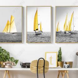 Tranh bộ 3 thuyền buồm vàng