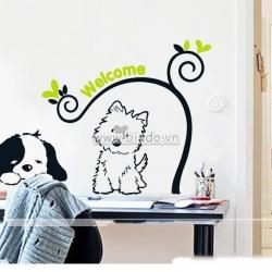 Decal dán tường Đôi cún