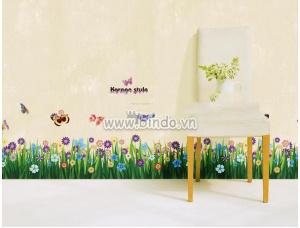 Decal dán tường Chân tường hoa cỏ