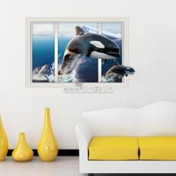 Decal dán tường Cửa sổ cá voi 3D