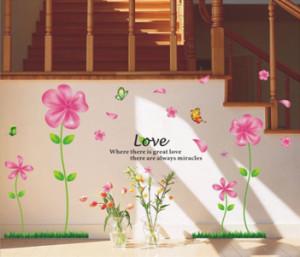 Decal dán tường Hoa 5 cánh hồng