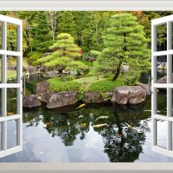 Tranh cửa sổ công viên Nhật Bản