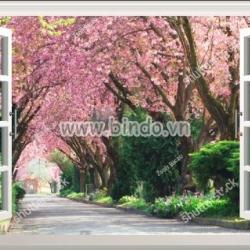 Decal dán tường Tranh cửa sổ mùa xuân 1