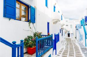 Tranh cảnh con phố Santorini