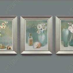 Tranh 3D bộ 3 lọ hoa