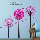 Decal dán tường bộ 3 cây hồng