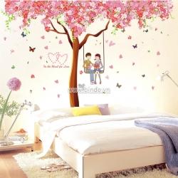 Decal dán tường Cây hồng tình yêu