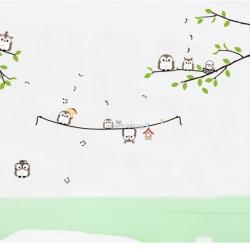 Decal dán tường Chim cú tập hát