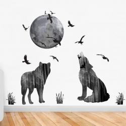 Decal dán tường Chó sói và địa cầu